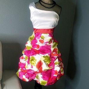 Bonnie jean size 7/8/16 one shoulder floral dress